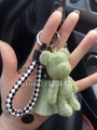 Bling del oso de peluche llaveros rhinestone llavero del coche llavero lindo verde menta borla bolsa bolso bug encantos Cordón de cuero
