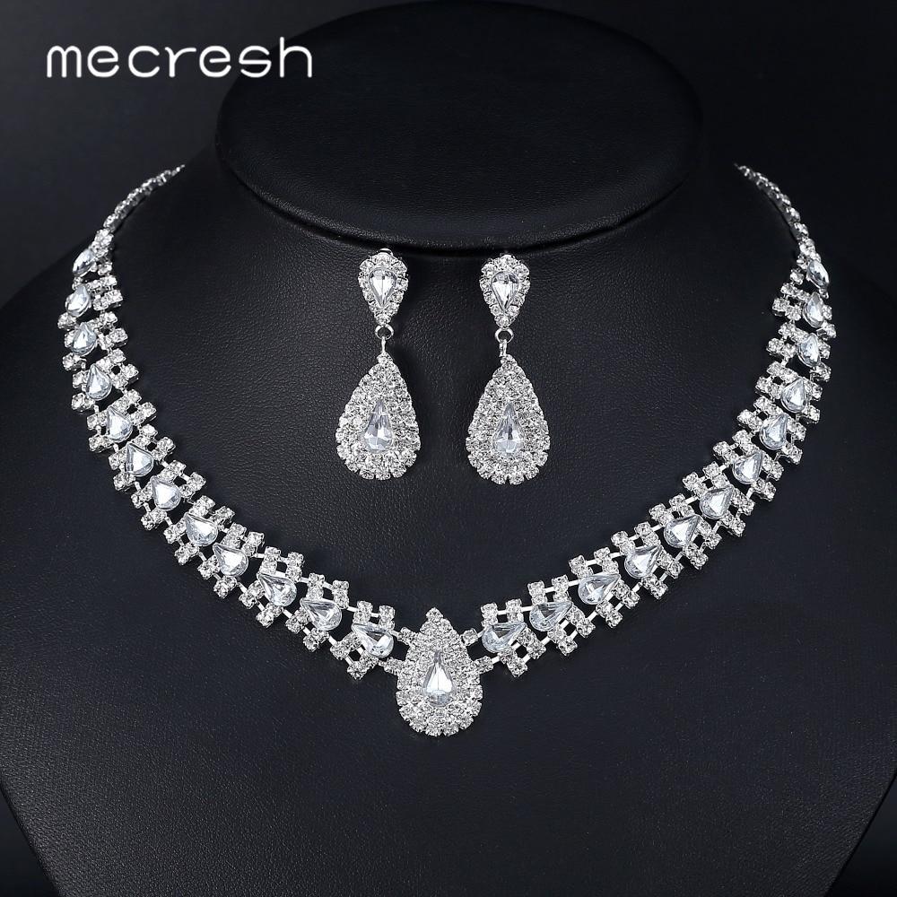 Mecresh crystal african wedding jewelry sets pink silver for Pink wedding jewelry sets