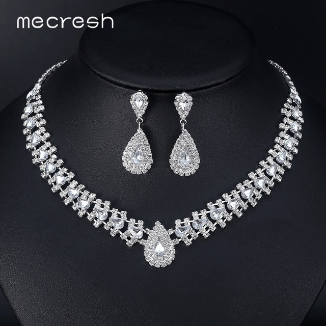 Mecresh Crystal African Wedding Jewelry Sets Pink Silver Color Teardrop Beads Bridal Choker Necklace Earrings