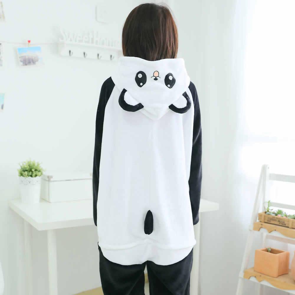 Leuke Cartoon kids Kigurumi Panda Lange Mouwen Hooded Onesie Volwassen Vrouwen Dier Mooie/Rode ogen/Kungfu Panda Pyjama nachtkleding