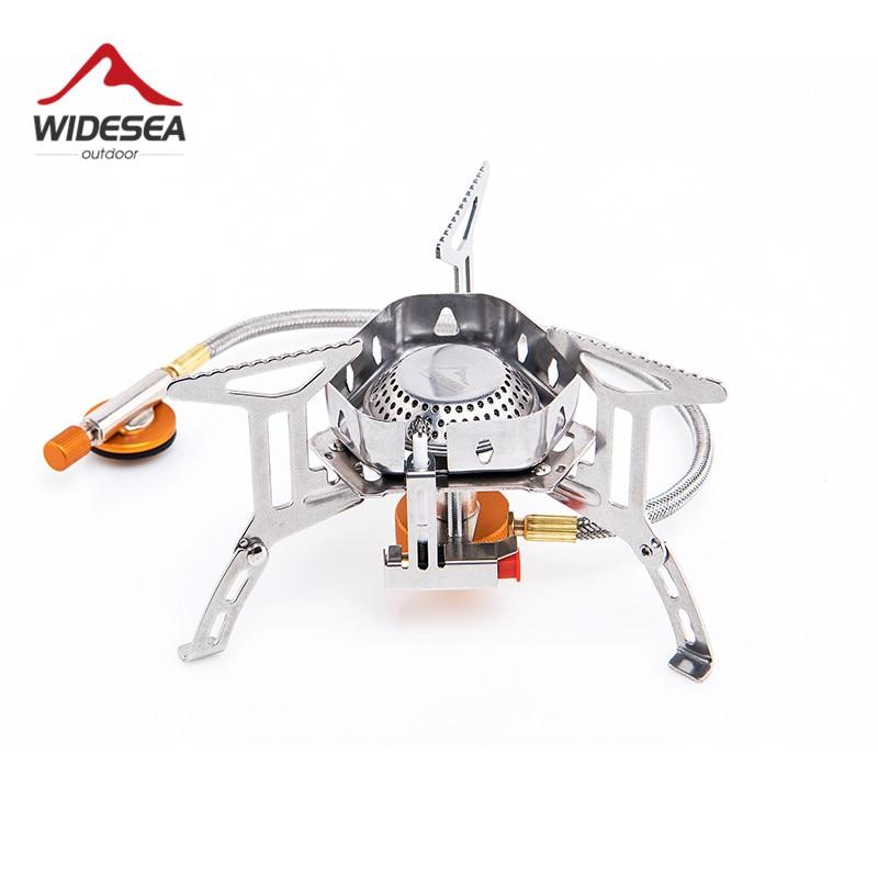 Туристическая газовая горелка Widesea, с защитой от ветра, туристическая плита, зажигалка, кухонный баллон, пропановый гриль