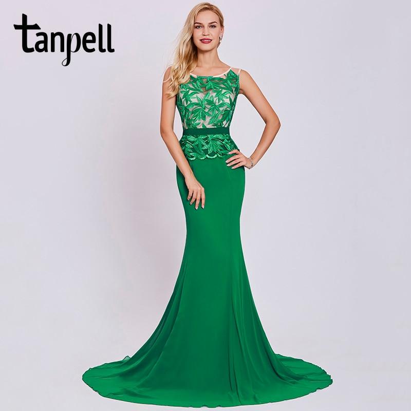 Tanpell Embroidery Evening Dresses Dark Green Sleeveless Floor Length A Line Gown Women Sweep Train Long Mermaid Evening Dress