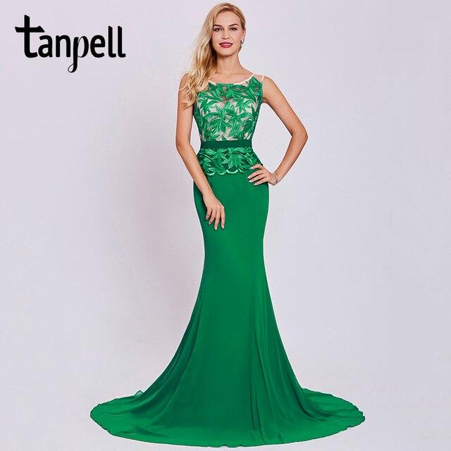 best website 80ffd e9f3c US $43.33 46% di SCONTO|Tanpell ricamo abiti da sera verde scuro senza  maniche donne abito di lunghezza del pavimento una linea sweep treno lungo  ...