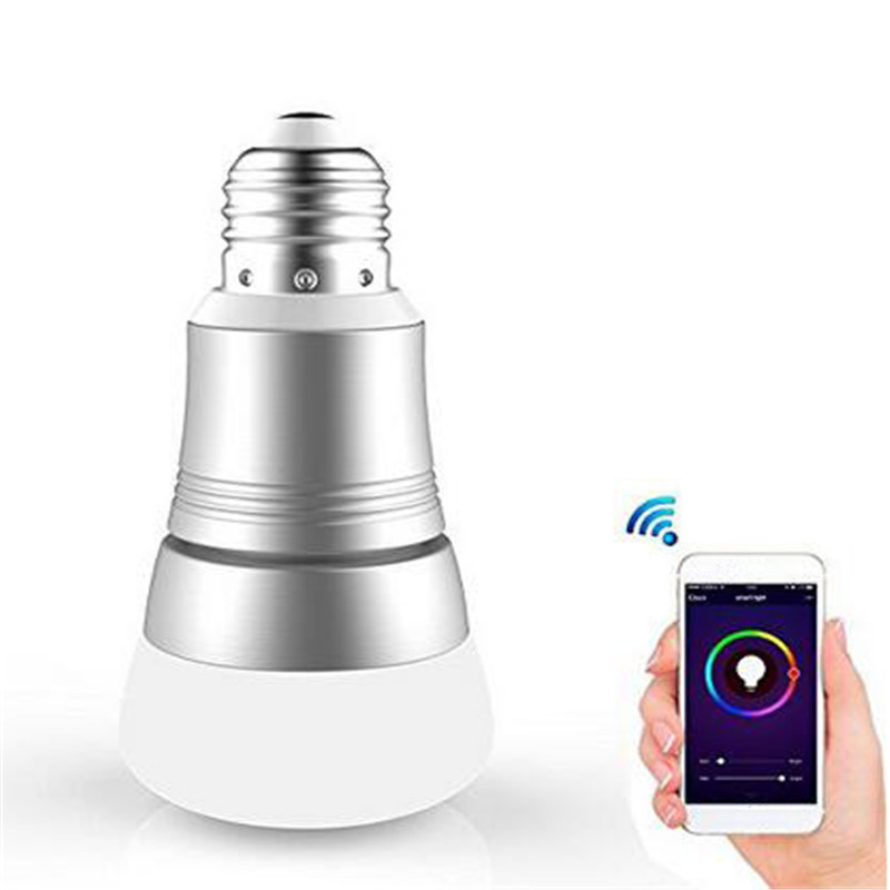 E27 7W RGBW WIFI Timing APP Controlled LED Smart Light Bulb Lamp Work With For Alexa AC85-265V ...