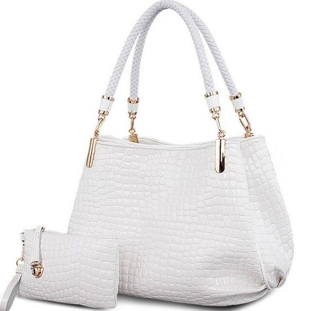 suutoop crocodile borse women totes lady handbag+purse/wallet carteras mujer big capacity black white shoulder kit 2 bags/set