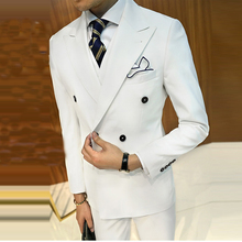 White Business Men Suit Grooming Slim Fit Suits Wedding Double Breasted Tuxedo 3 Pieces Custom (Jacket+Vest+Pants )