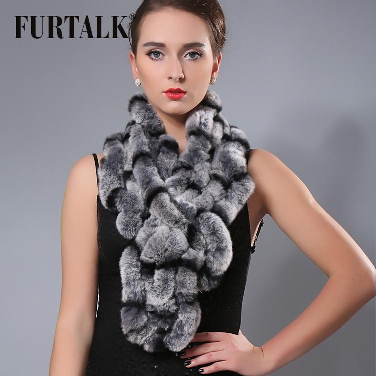 FURTALK  80*15cm Real Fur Scarf Women Rex Rabbit Fur Scarf Winter Russian Fur Collar Shawl Scarf Wraps for Party 2019