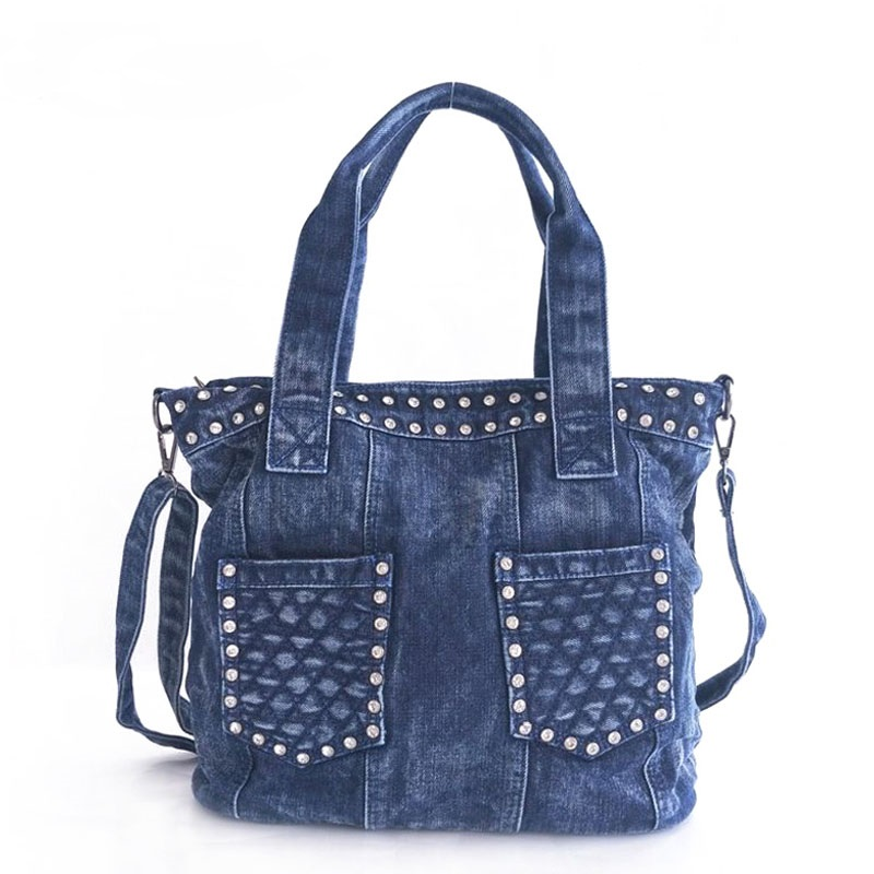 Fashion Denim Handbags Diamonds Female Jeans Shoulder Bags Two Pockets Design Womens Tote Bag feminina bolsos mujer