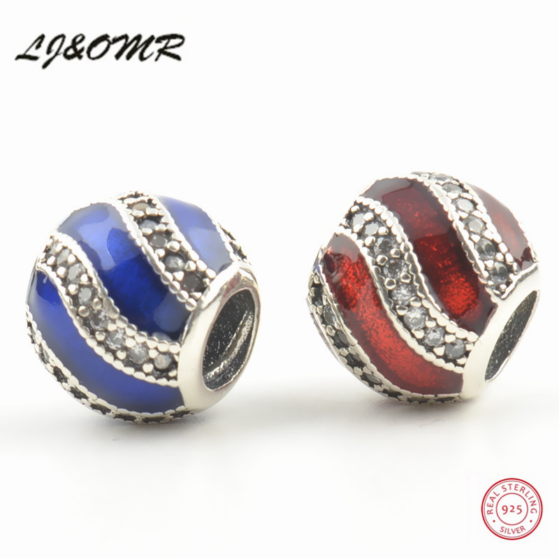 New Sale High Quality Red / Blue Color 925 Sterling Silver Beads Charms for S925 Silver Jewellery Making joyas de plata 925