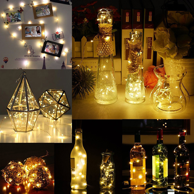 Купить с кэшбэком 10 Pcs/lot Wine Bottle Fairy Lights Cork Shaped Starry LED String lights Holiday Lighting For Wedding Party Home Room Decoration