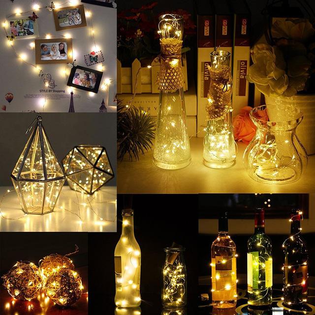 LED wine bottle cork wire lights