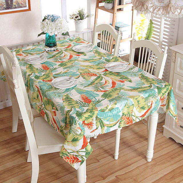 Pastoral Style 100% Cotton Thickening Canvas Tropical Rainforest Banana  Leaf Table Cloth
