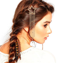 Gold Silver Bridal Shooting Star Tassel Chain French Updo Hair Head Clip Dress Snap Pin Grip Clip Fork PeloWedding Jewelry Women(China)