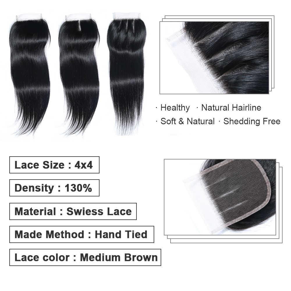 Bigsophy малазийские закрытие 4x4 прямые волнистые человеческие волосы Кружева Закрытие с волосами младенца свободный Средний три части парик из волос Реми
