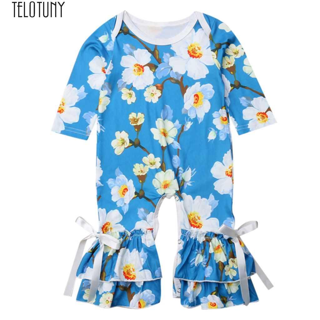 TELOTUNY Дети Детский комбинезон с длинными рукавами для девочек Цветочный принт вспышек комбинезоны детские одежда милые детские ползунки модные новые Dec4