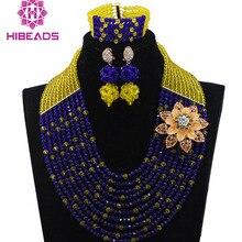 Потрясающий желтый микс синий африканский Модный бисер свадебные ювелирные наборы нигерийские бусы комплект ювелирных изделий синий кристалл WD677
