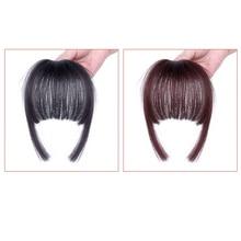 DIFEI короткие прямые тупые челки для женщин синтетические натуральные поддельные пристегиваемая челка для наращивания волос черный темно-коричневый два цвета