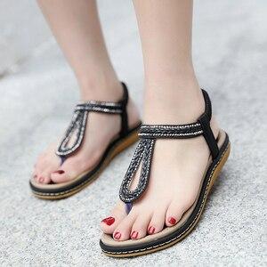 Image 3 - TIMETANG/Летняя обувь; Женские пляжные вьетнамки в богемном стиле; Мягкие сандалии на плоской подошве; Женская Повседневная Удобная обувь; Большие размеры 35 42