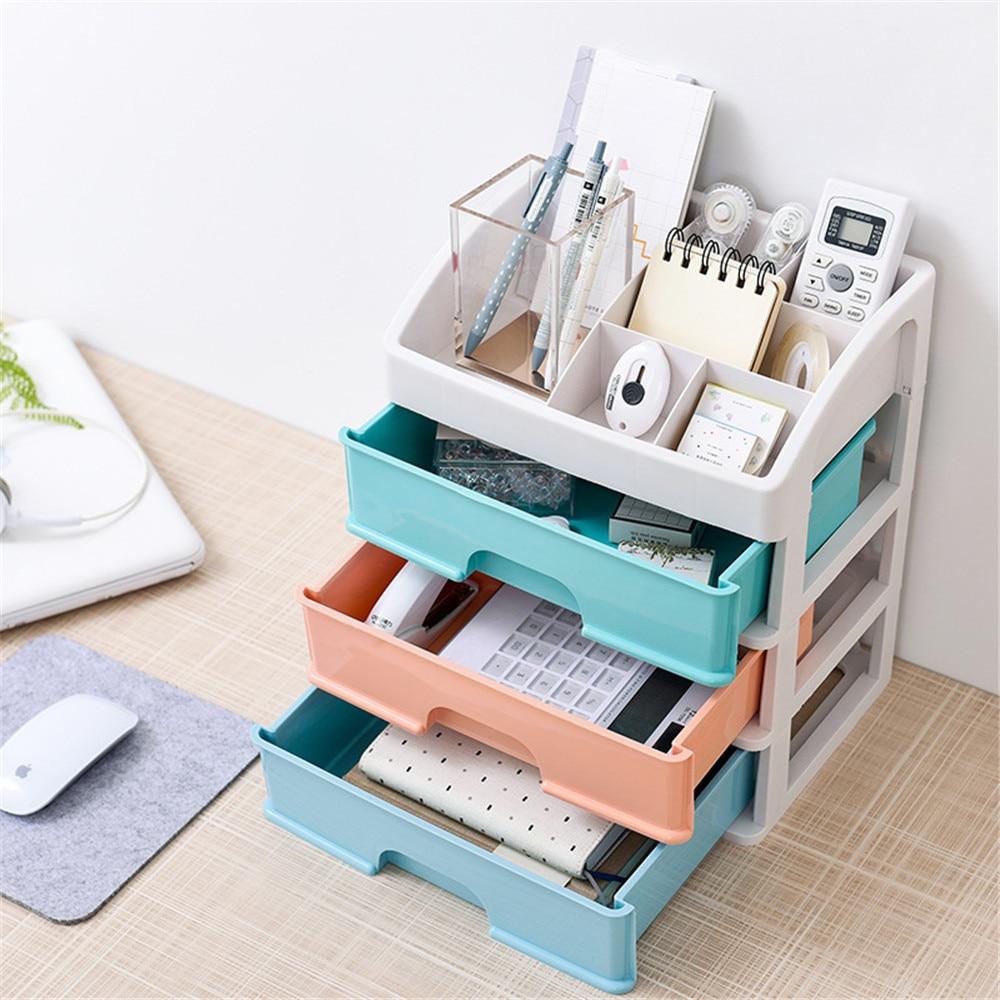 3 Layers Office Desktop Stationery Storage Drawer Dressing Table Cosmetics Jewelry Plastic Storage Box Bathroom Organizer Case