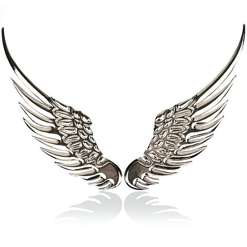 3D dimensional Alloy Metal car stickers Angel Hawk Wings Emblem Badge Decal Car Logo Sticker golden silver color optional 1pair