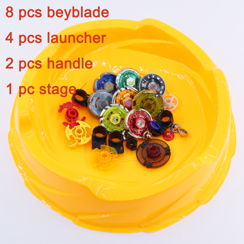 Beyblade Burst Stadium Arena Set Toys 8pcs Bayblade+4 Launchers+2 Handles+1 Stage Classic Top Toys With Box Gift For Children #E 2018 beyblade burst arena set 8 beyblades 4 launchers 4 arena classic toy kids gifts spinner top genuine tomy beyblade pegasus