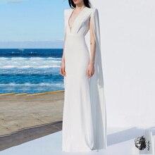 Элегантное женское белое длинное облегающее платье зимнее белое глубокий v-образный вырез рукава накидки знаменитые Подиумные Клубные вечерние платья Vestidos