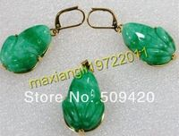 Free Shipping Wholesale Green Jade Frog Pendant Earring Set FREE NECKLACE