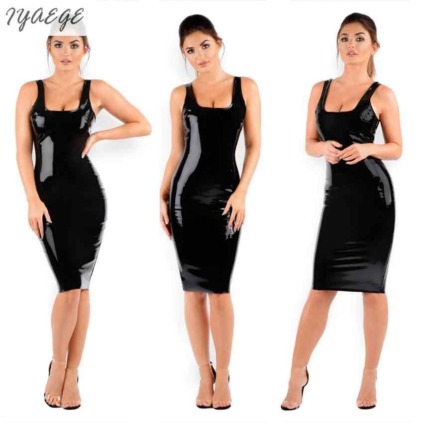 Klub nocny wieczór Sexy Faux Leather lateks sukienka Midi do tańca kobiet Party sukienki damskie guma wysokie elastyczne fetysz Clubwear pani