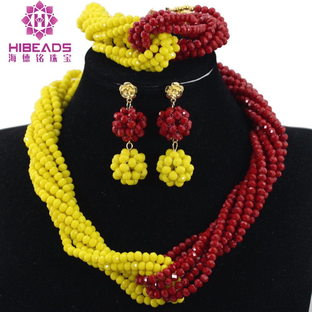 Trendy Crystal Beads Jewelry Afriacn Bridal Nigerian Wedding Crystal Earring Bracelet Necklace Red&Yellow Free Shipping ANJ403