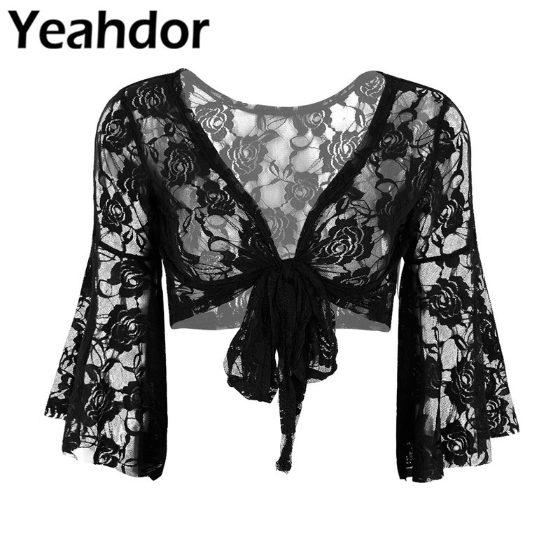 Womens Lady Long Flare Sleeve Belly Dance Butterfly Lace Top Shrug Fashion Cover Up Open Front Cardigan Wraps Wedding Party Wrap