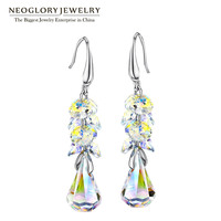 Neoglory Jewelry Austrian Crystal Drop Earrings Platinum Plated For Women 2016 New Brand Birthday Gifts