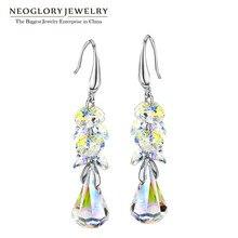 Joyería de neoglory made with swarovski elements crystal gota cuelga los pendientes para las mujeres 2017 nueva marca regalos de cumpleaños t1