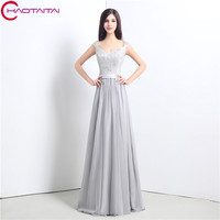 Most Popular Prom Dresses Lace Up Back Grey Long Beaded Graduation Dress Styles A Line Natural