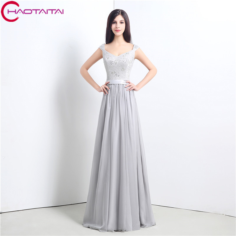 Most Popular Bridesmaid Dress: Most Popular Prom Dresses Lace Up Back Grey Long Beaded