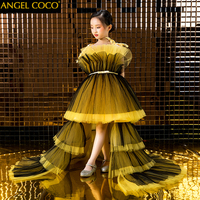 Роскошное желтое и черное бальное платье с цветочным узором для девочек, свадебные платья 2019 года, новые платья принцессы для девочек на сва