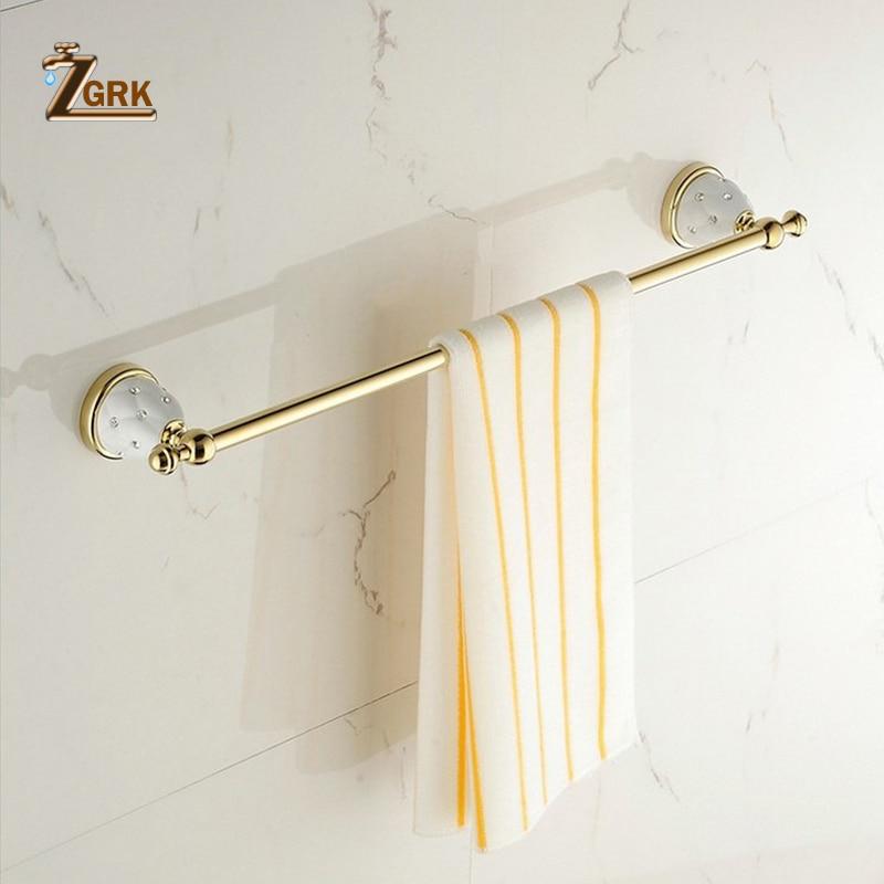 ZGRK Bathroom Fasion Wall Mounted Space Aluminum Towel Rack Wall Bathroom Towel Hanger Storage Hook Rod Holder Hanging стоимость