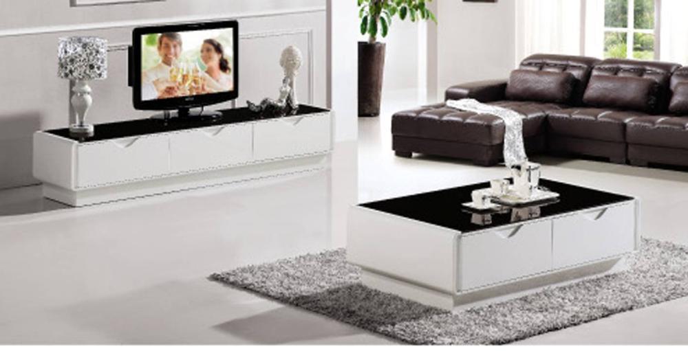 Gehard glas en pianolak houten meubels set lade tafel for Houten meubels woonkamer