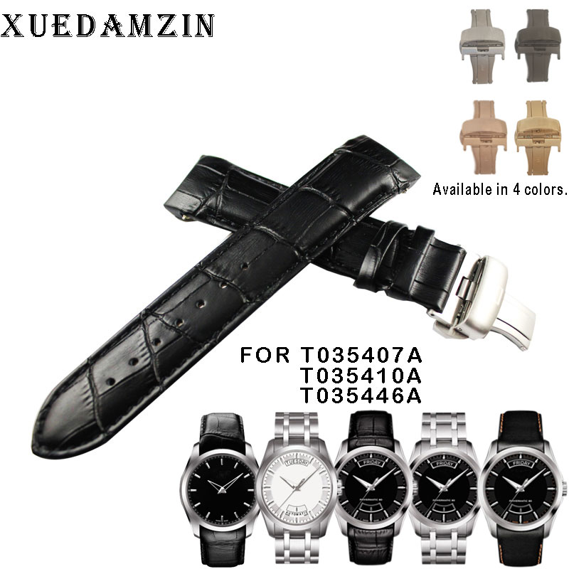22/23/24mm For T035407A T035617A T035627A T035614 High Quality Butterfly Buckle + Genuine Leather curved end Watchband belts