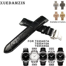 Купить с кэшбэком 22mm (Buckle 20mm) T035407A T035410 High Quality Silver Butterfly Buckle + Black Genuine Leather curved end Watchband belts man