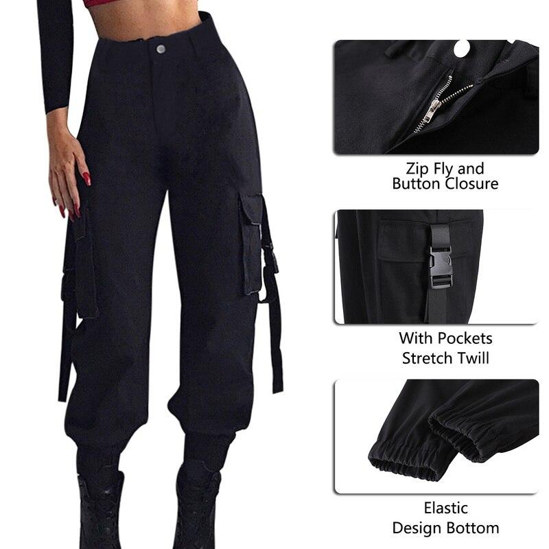 ADISPUTENT Streetwear Cargo Pants Women Casual Joggers Black High Waist Loose Female Trousers Korean Style Ladies Pants Capri 24
