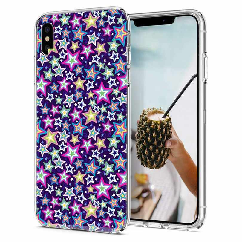 Étui pour iPhone 7 8 Plus 6 6 S/6 Plus Souple étui en polyuréthane thermoplastique D'étoile de Conception Arc-En-Ciel Pour iPhone X XS XR Max Téléphone Couverture Arrière Fundas Q162