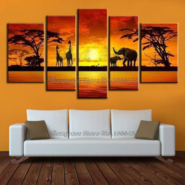 Hand Painted African Sunset Landscape Oil Painting Canvas 5 Panel Wall Art Modern Abstract