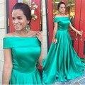 Baratos Vestidos de Noite Vestidos De Festa Vestido Longo Formatura Barco Verde de Cetim Prom Vestidos Longos Formais Vestidos de Festa