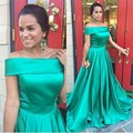 Cheap Evening Dresses Vestidos De Festa Vestido Longo Formatura Boat Green Satin Prom Long Dresses Formal Party Gowns