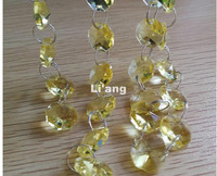 Free Shipping 10Meters Yellow Glass Garland Chains 14mm Beads Crystal Garland Strands For Wedding Decoration Chandelier Parts