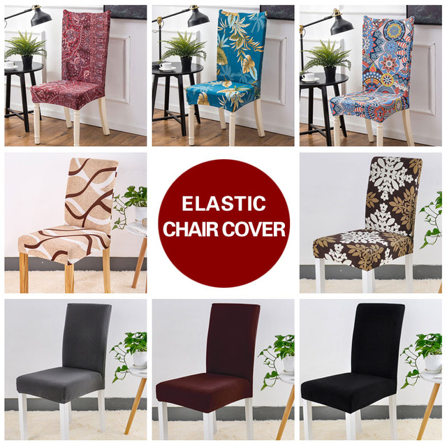 kitchen chair seat covers poang cover pattern aliexpress com buy black spandex stretch geometry anti dirty housse de chaise towel for chairs from