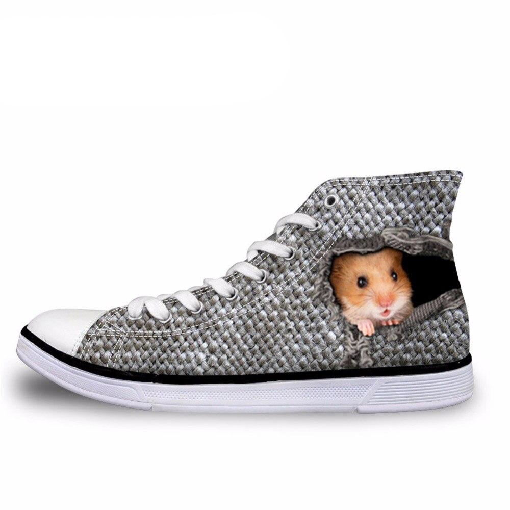 NOISYDESIGNS classique hommes haut haut vulcaniser chaussures créatif souris oiseau chat dans le trou modèle laçage plat toile baskets mâle