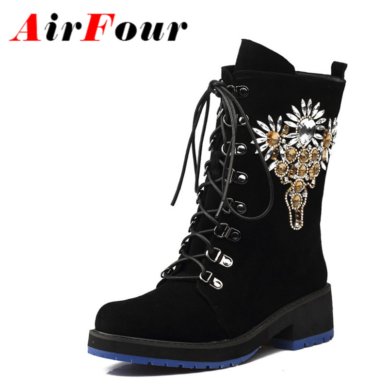 ФОТО Airfour New Fashion Style Autumn/Winter Women Boots Flock Mid-Calf Lace-Up Char Round Toe Square High Heels Classic Balck Shoes