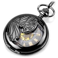 New Pocket Watch Fashion Steampunk Gun black Skeleton Mechanical Hand Wind Pocket Watches Men Mechanical Pocket Watches