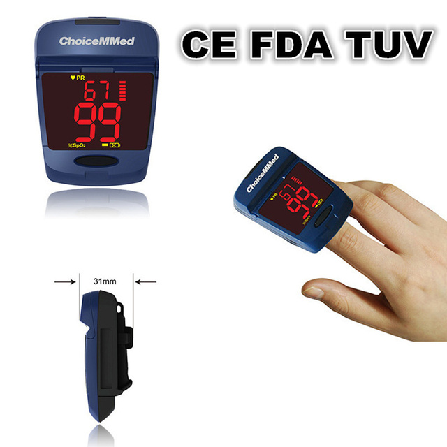 ChoiceMMed Mineral Blue Big Screen Pulse Oximeter Finger Tip Blood Oxygen SpO2 Monitor CE FDA TUV Approved MD300CG11